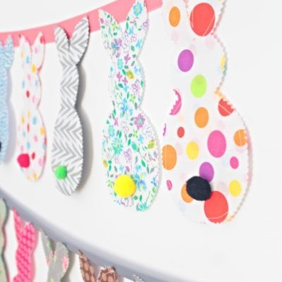 DIY bunny banner from fabric scraps