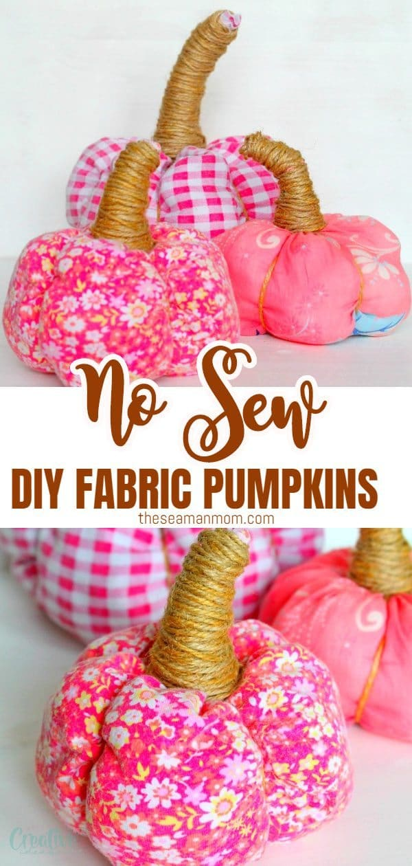 Looking for no sew fabric crafts to make this fall? Make a fun, adorable and easy pumpkin with this 15 minutes tutorial on fabric pumpkins that are no sew and suitable for all skills! These DIY fabric pumpkins are also great fall crafts to make with the kiddos! via @petroneagu