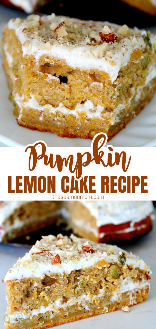 Tired of the old pumpkin pie? Try this lemon pumpkin cake recipe! Two layers of moist, delicious pumpkin cake, filled with sweet/tart lemon cheese frosting make this easy pumpkin cake the perfect fall dessert! via @petroneagu