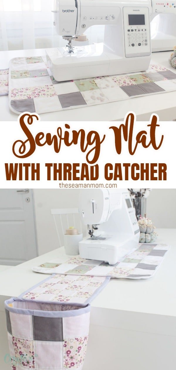 If you are madly in love with sewing, you'll fall head over heels for this sewing mat! Quilted and made with fabric scraps, this sewing machine mat has a thread catcher attached to help you keep your sewing room clean and organized! via @petroneagu