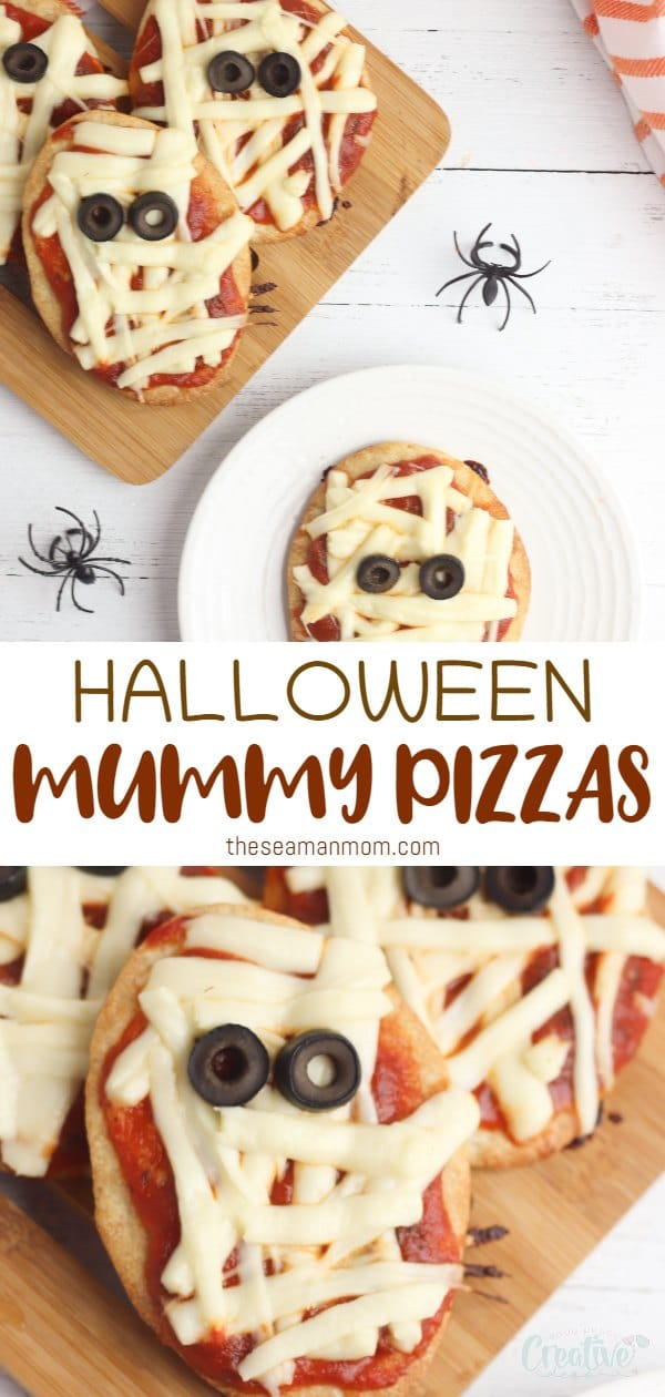 If you're looking for a spooky pizza recipe, these adorable mini mummy pizzas are the perfect appetizers for a Halloween party! Made with just a handful of ingredients, these Halloween mini pizzas are super quick to make, great last minute appetizer! via @petroneagu