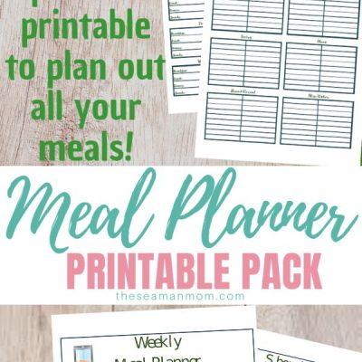 Printable meal planner pack