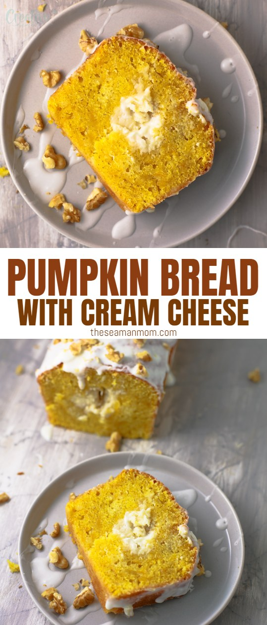 Want a moist pumpkin bread recipe that is easy to make but looks impressive? This pumpkin cream cheese bread is so tender and stuffed with a cheesecake filling that's just perfectly creamy! Plus, this cream cheese pumpkin bread is packed with all the delicious spices that we crave during fall. via @petroneagu