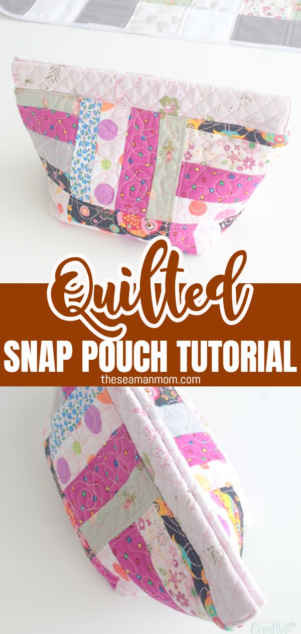 """This easy tutorial shows you how to make a practical and functional snap bag using a secret """"ingredient""""! This cute snap pouch is quilted from small pieces of scrap fabric and is super fun to make and a great gift idea! via @petroneagu"""