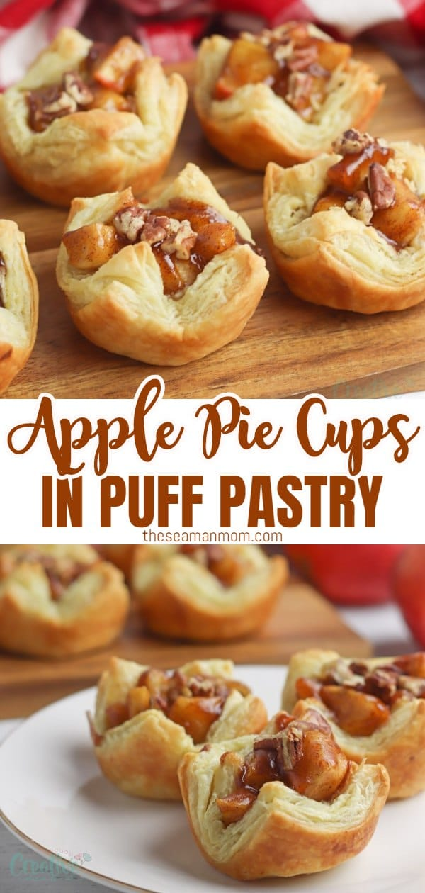 Using a puff pastry crust and homemade filling, these delicious apple pie cups are the best way to enjoy apple pie in a pinch! Enjoy a bite of apple pie in a fraction of the time it would take you to make a regular homemade apple pie from scratch with these easy & simple mini apple pies!  via @petroneagu