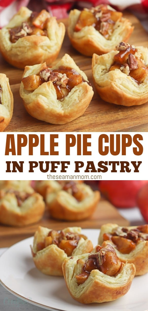 Using a puff pastry crust and homemade filling, these delicious apple pie cups are best way to enjoy apple pie in a pinch! Enjoy a bite of apple pie in a fraction of the time it would take you to make a regular homemade apple pie from scratch with these easy & simple mini apple pies!  via @petroneagu