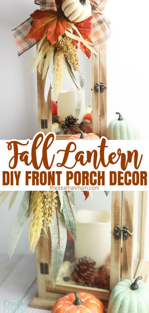 Have you been looking for easy lantern decor ideas? This fall lantern is the perfect fall porch decor! Simply add a few seasonal items inside the lantern and decorate with a cute bow to transform a plain lantern into a beautiful fall lantern decor in minutes! via @petroneagu