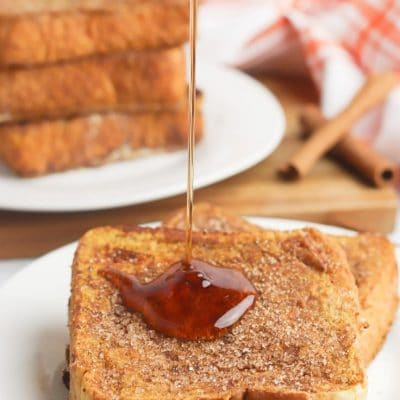 Pumpkin french toast with cinnamon sugar topping
