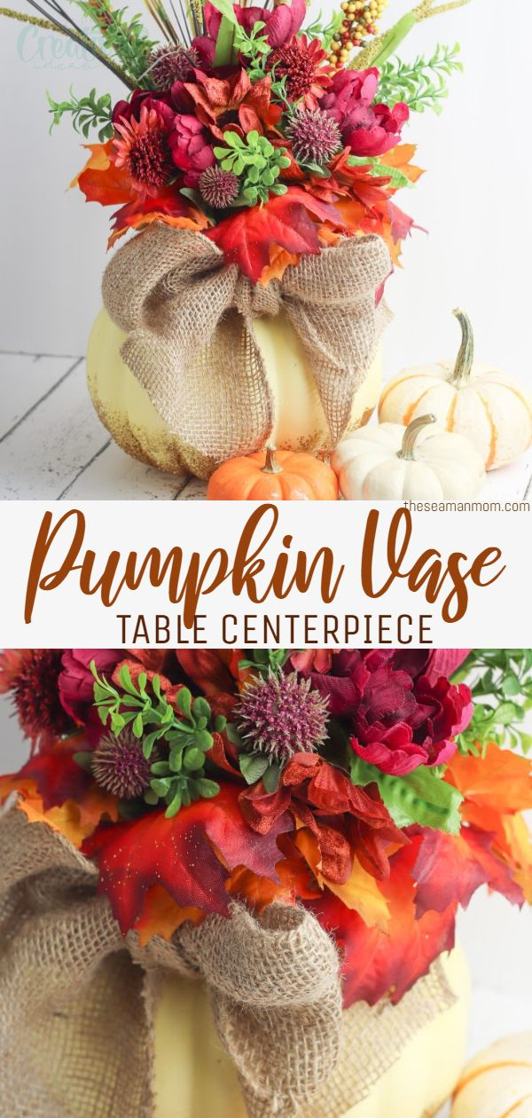 If you're searching for a unique pumpkin centerpieces to decorate this year, you're going to love this simple glittery pumpkin vase! via @petroneagu