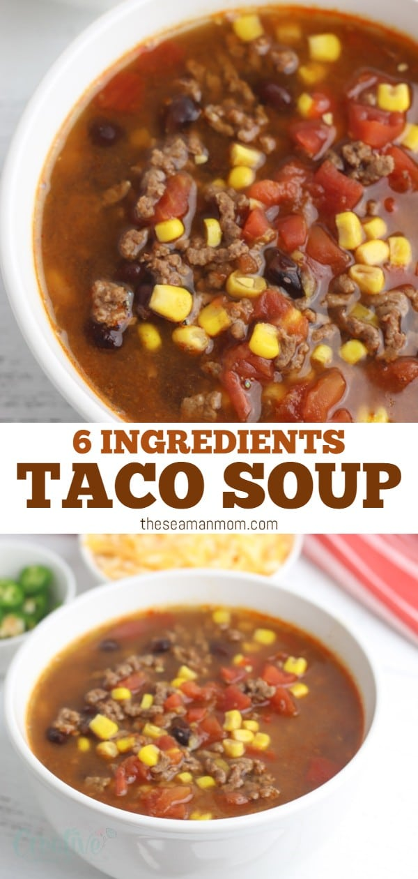 With only six ingredients, you can easily put this one-pot taco soup recipe together in just a few minutes! You'll love how easy this six-ingredient taco soup is to make. via @petroneagu