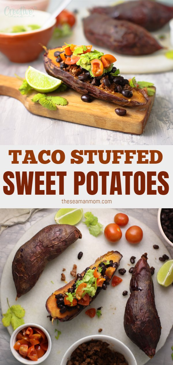 Taco Stuffed Sweet Potatoes made with oven-roasted sweet potatoes, ground beef, creamy guacamole, tomatoes, cilantro, and a good squeeze of lime juice are the perfect quick, healthy dinner to make on weeknights. via @petroneagu