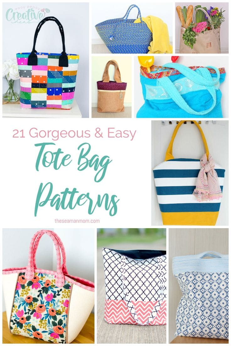 If you're looking for fabric bags to make in just a few hours, these tote bag patterns are easy to sew, beautiful and practical! While some are a little more complicated, many of these handmade tote bags are great as a first time sewing project! via @petroneagu