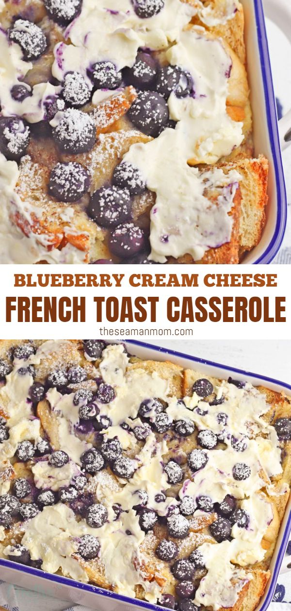 You will fall in love with this blueberry french toast casserole and so do your guests! You can prepare it the night before and just pop it in the oven in the morning. Made with cream cheese, this blueberry french toast is so creamy and full of blueberry flavor and just the perfect breakfast for holidays! via @petroneagu