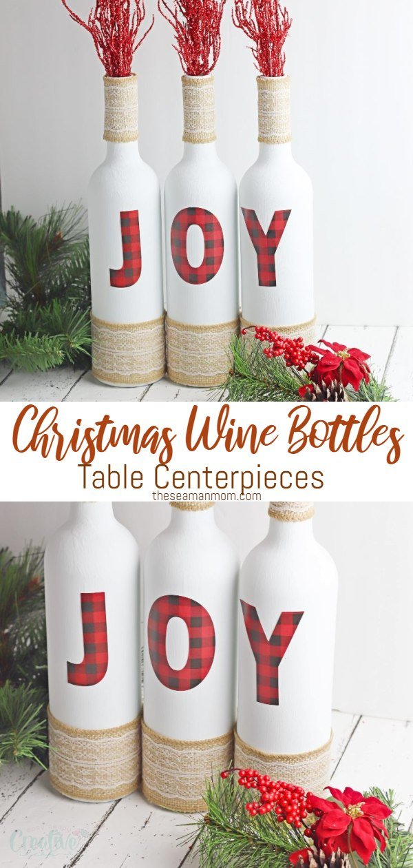 Are you a vino lover? Put those old wine bottles to good use with these Christmas wine bottles! Decorated with adorable plaid JOY stickers & lace burlap ribbon, these lovely Christmas wine bottle decor ideas are a great way to recycle while spending the holidays in style! via @petroneagu