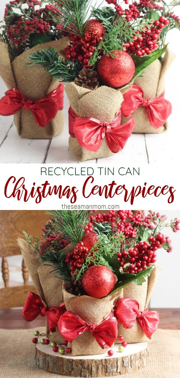 Give your table a festive touch with these beautiful DIY Christmas centerpieces! If you love hosting a Christmas party but plan on staying on budget, then you must make these tin can centerpieces! via @petroneagu