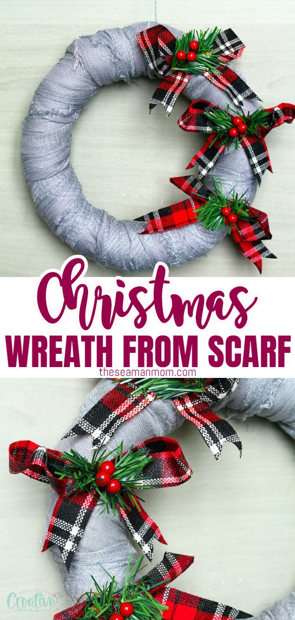 Spruce up your holiday decor with this simple but adorable and easy Christmas wreath! A quick and cheap Christmas wreath to do with the kiddos too! via @petroneagu