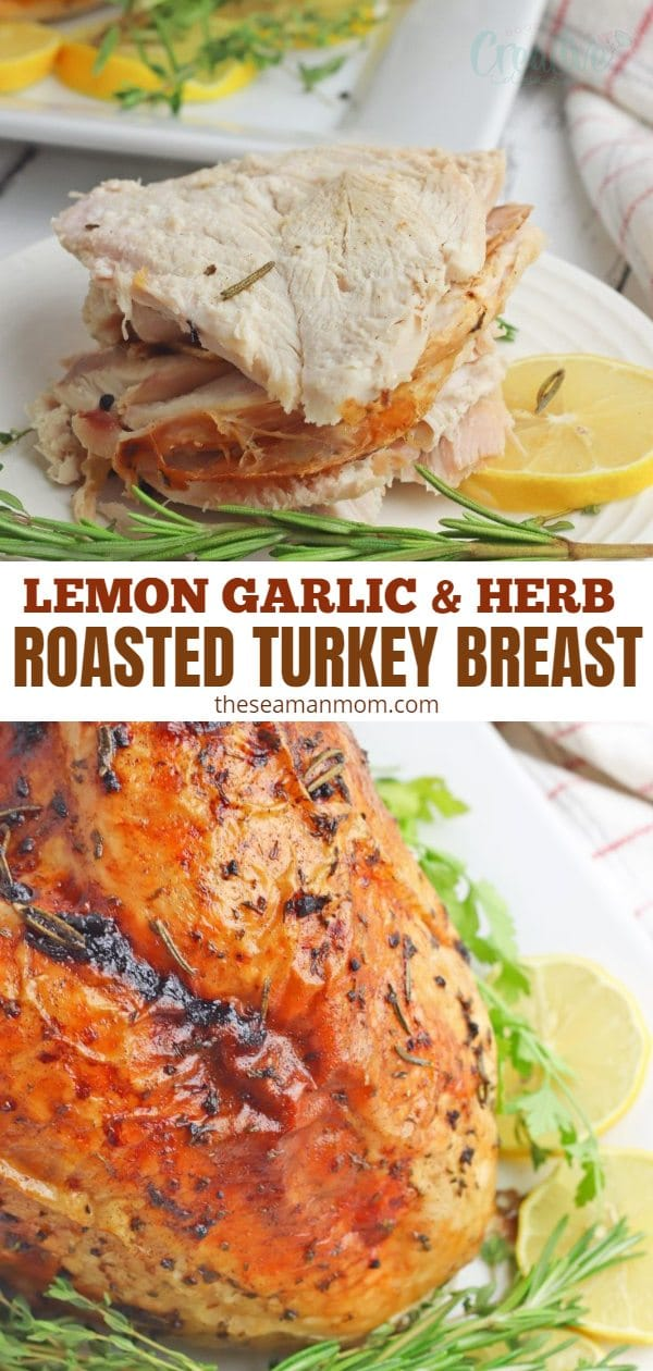 Baked in the oven with lemon, garlic and herbs, this delicious and easy to cook herb roasted turkey breast is a flavorful idea for Thanksgiving as well as Christmas! Making this oven roasted turkey breast is a great option for smaller families! via @petroneagu
