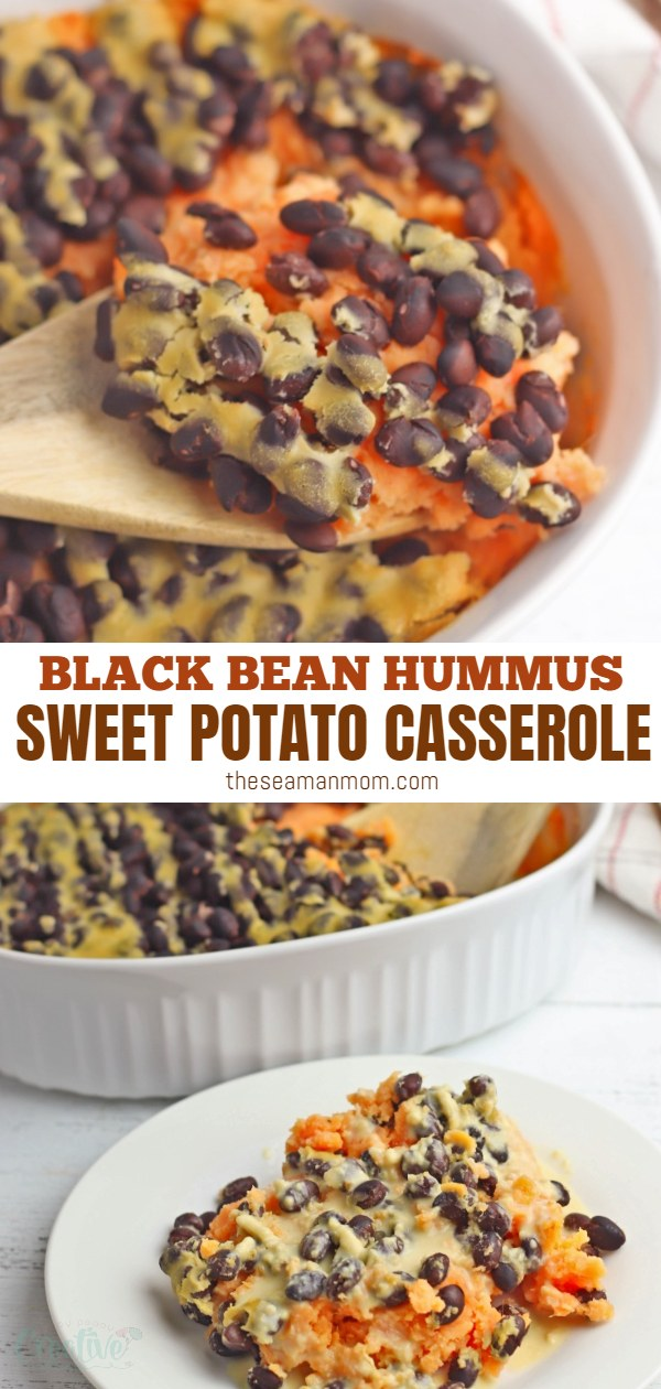 A Mexican-inspired recipe, this sweet potato casserole recipe is as tasty as it is healthy! A delicious side dish, perfect for holidays, this mashed sweet potato casserole is made with black beans and hummus and is vegan and gluten-free but can be easily adapted to include meat. via @petroneagu