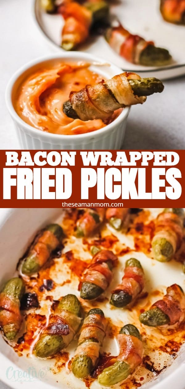 These homemade fried pickles, also known as bacon pickle fries, are a super delicious and low-carb appetizer! A pickle spear, wrapped in smoky bacon and baked until crispy. They are everything a good appetizer should be! via @petroneagu