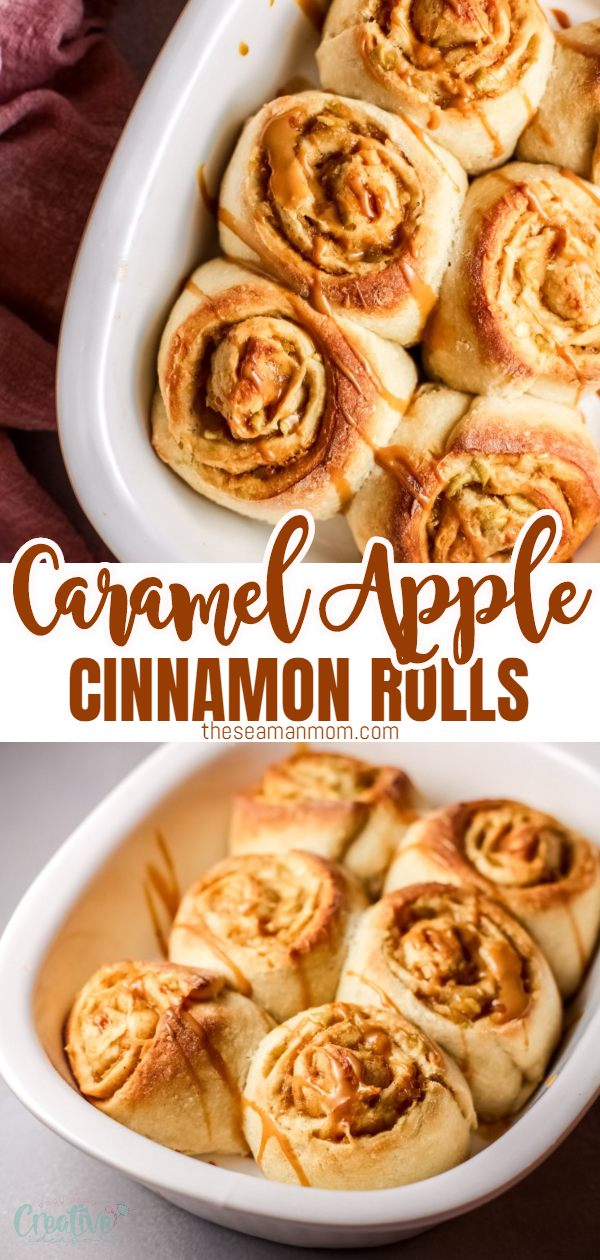 These caramel apple cinnamon rolls are soft, fluffy and stuffed with warm spiced apples and a generous spread of salted caramel. Make a large batch of these buttery, bakery-style cinnamon rolls, they are the ultimate winter treat! via @petroneagu