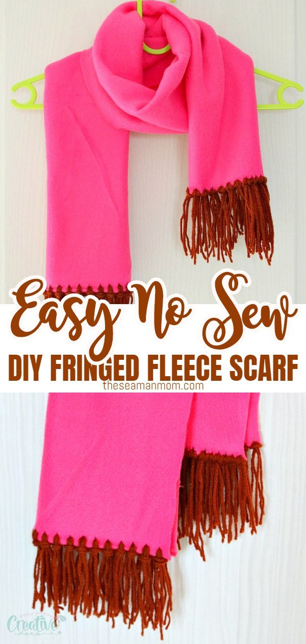 If you love fleece as much as I do, you'll want to make yourself a warm, cuddly DIY fleece scarf for the cold days with this super easy no sew scarf tutorial with fringe. Makes a great gift too! via @petroneagu