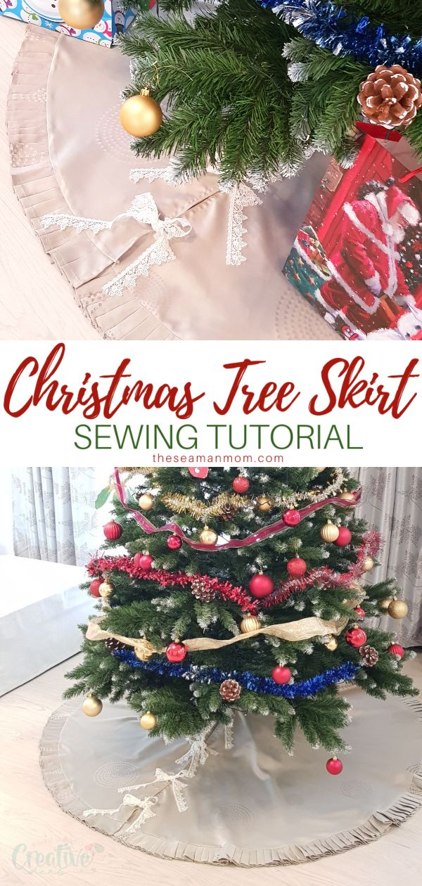 Are you one of those people who think Christmas tree skirts are a holiday staple? Finish your tree off nicely with this simple but pretty DIY tree skirt! This DIY Christmas tree skirt is so easy, fun and fairly quick to sew and will provide an unique decorative finishing touch to your tree! via @petroneagu