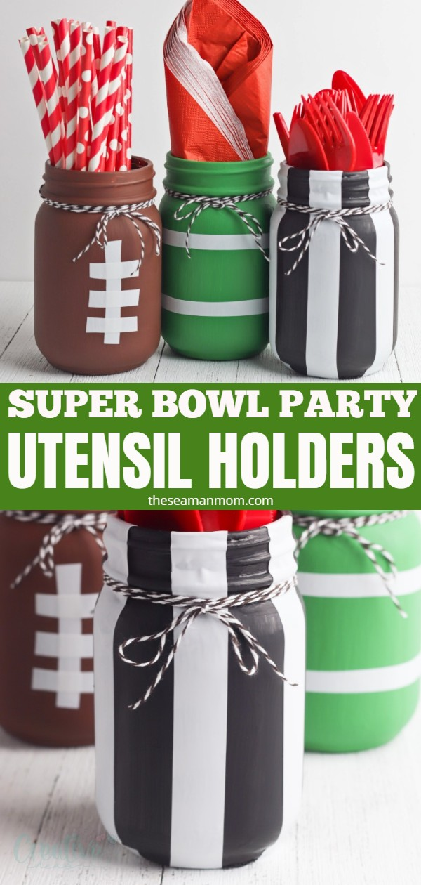 Hosting a Super Bowl party? Wow your guests with a bunch of football mason jars! These cute football themed party ideas are great to use as utensil holders or centerpieces! via @petroneagu