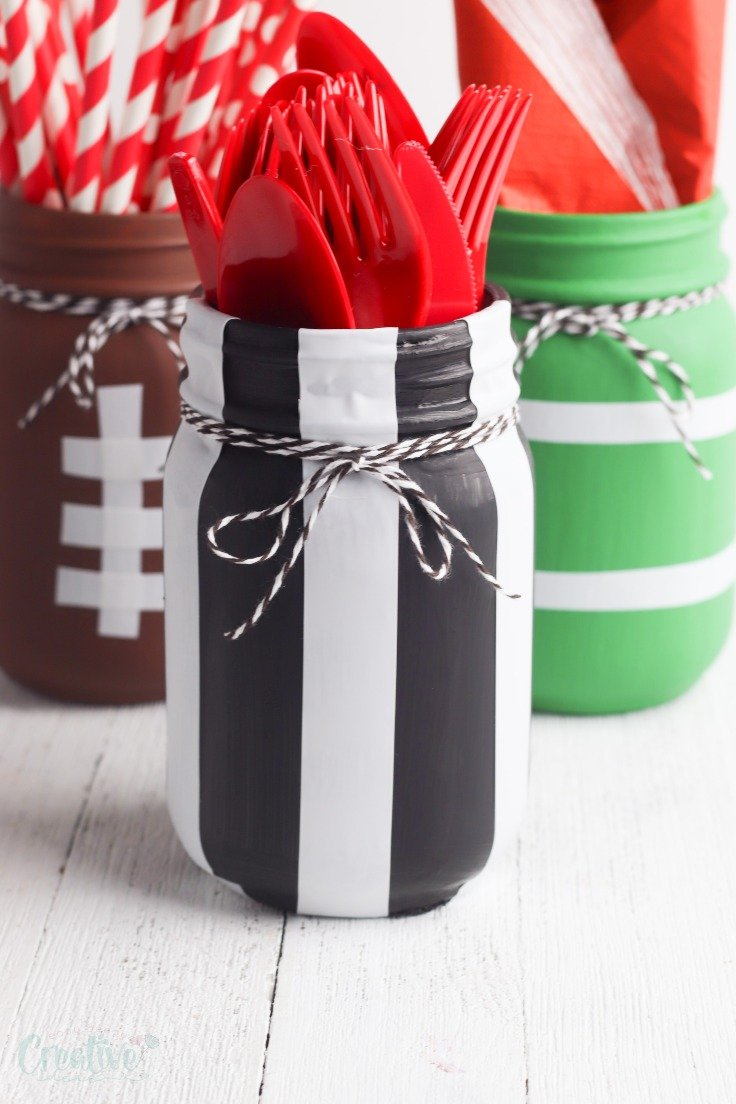 Football painted mason jars