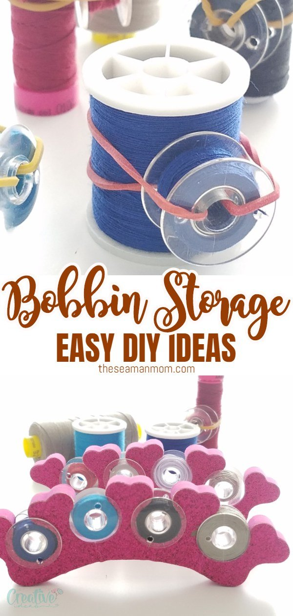 Looking for inspiring ideas for thread and bobbin storage? Storing and organizing your spools and bobbins doesn't have to cost you a thing when you make these bobbin storage ideas yourself! via @petroneagu