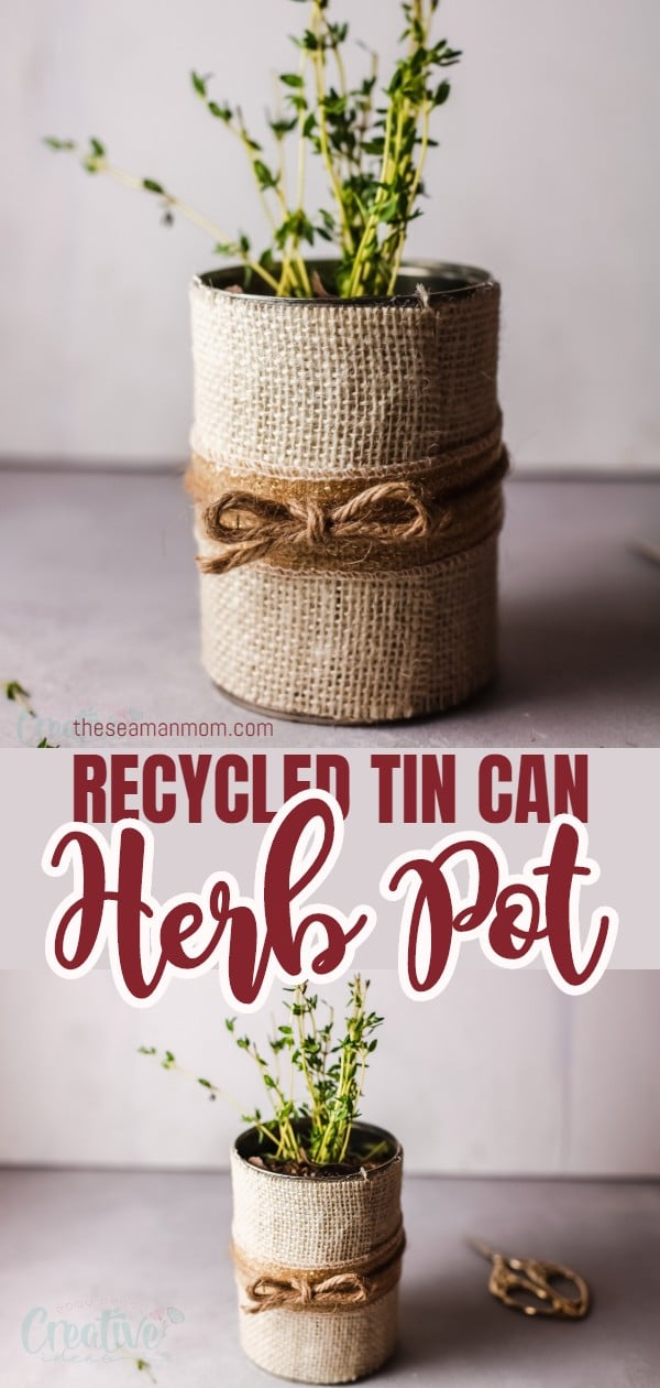This DIY herb pot is a thrifty and eco-friendly way to make planters! You only need a can, some burlap, ribbon and glue to create a beautiful and rustic planter in no time. Give your plants a little new home this season with a simple, recycled herb container! via @petroneagu