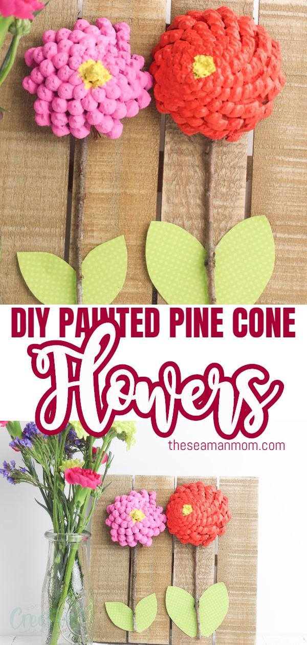 Looking for a trendy design idea? Make some DIY pine cone flowers to match your decor! Painted pine cones are easy to work with, so much fun for the whole family and a great way tobrighten your room all year round! via @petroneagu