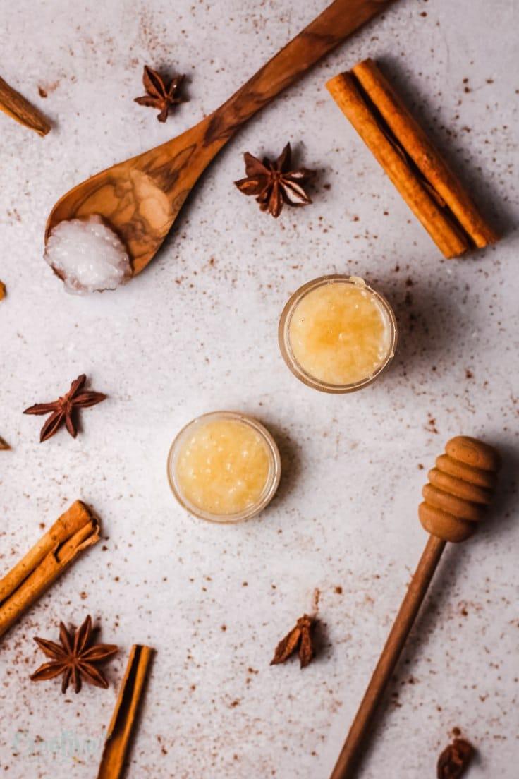 Honey cinnamon lip scrub