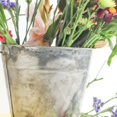 DIY vintage galvanized bucket
