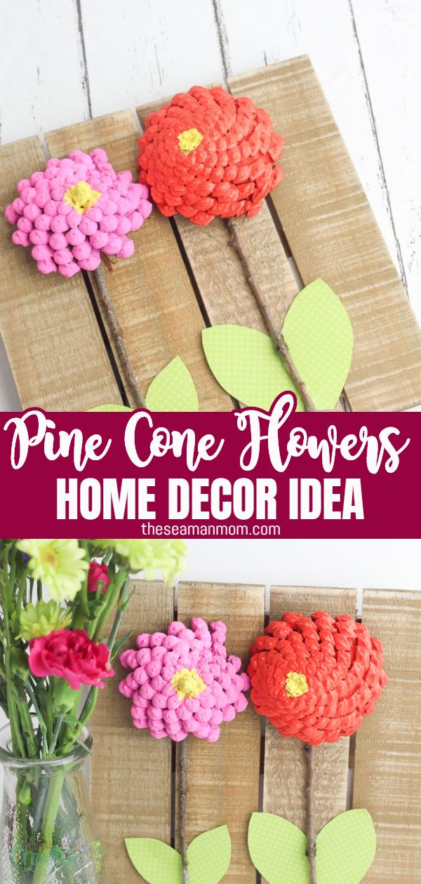 Looking for a trendy design idea? Make some pine cone flowers to match your decor! Home decor ideas with pine cones are easy to make, so much fun for the whole family and a great way to brighten your room all year round! via @petroneagu