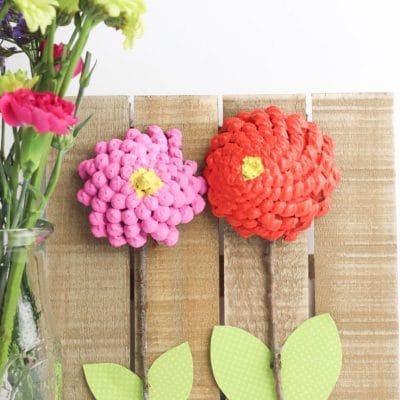 DIY pine cone flowers home decor