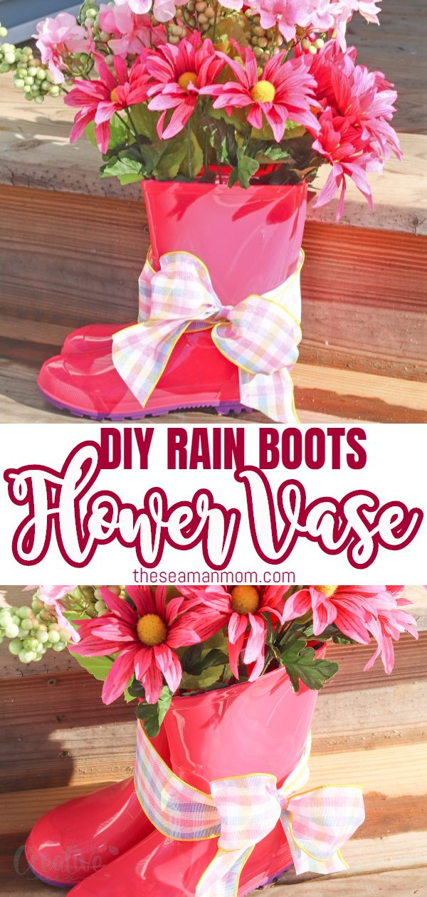 To celebrate winter's emerging departure, why not start making your own DIY spring decor? This rain boots vase is a low-key, easy peasy to make but high rewarding spring porch decor idea that will help you freshen up your home on a budget!  via @petroneagu