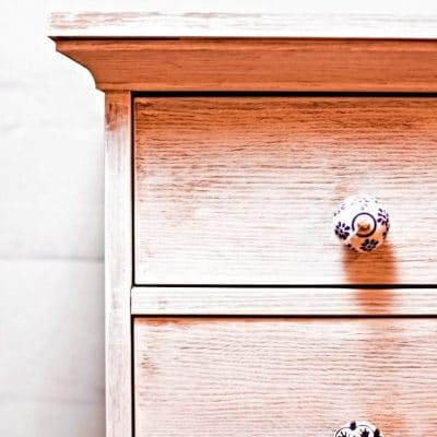 DIY Whitewashed nightstand makeover