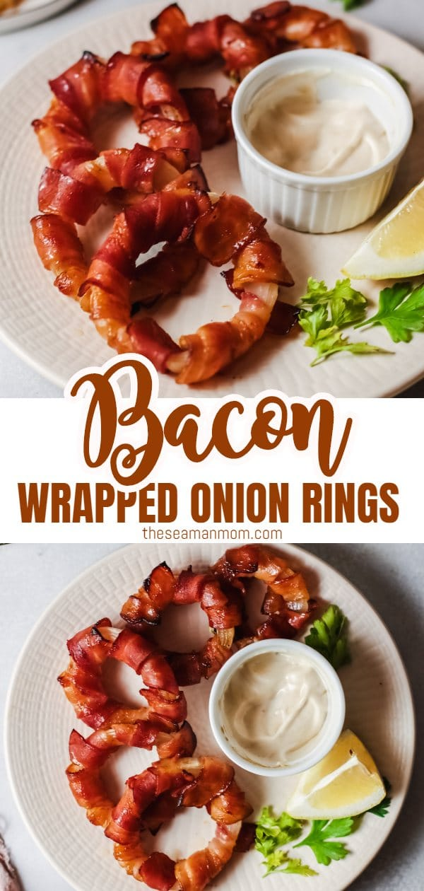 Bacon Wrapped Onion Rings are the appetizer every party needs! A super soft and savory onion ring is covered with bacon, smothered with spicy bbq sauce and then baked until crispy and oh so delicious! Smoky, hot, savory and just everything a good appetizer should be. Trust me when I say they will be the star of the party! via @petroneagu
