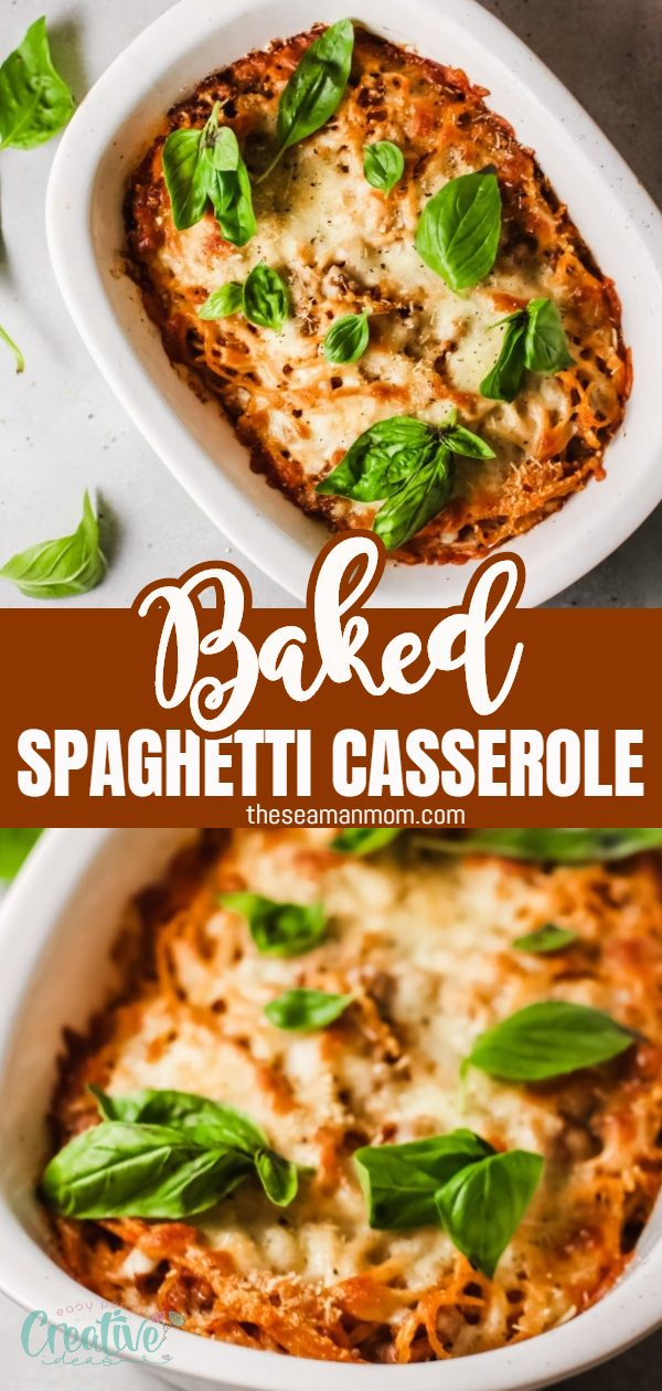 Baked spaghetti casserole is a delicious dish perfect for busy weeknights or to bring to potlucks! Super filling and tasty, it's packed with savory bolognese sauce, mozzarella and Parmesancheese. via @petroneagu