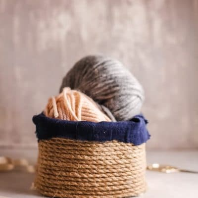 DIY rope basket from upcycled box