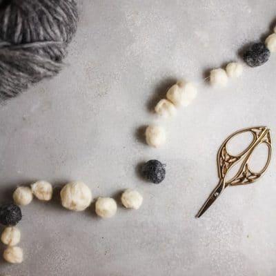 Handmade wool ball garland