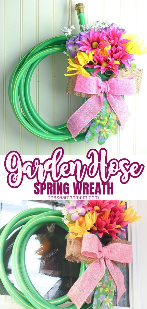 Give your guests a bright welcome with this garden hose wreath! This lovely DIY spring wreath is so simple and quick to make and will bring so much color and cheer to your front door! via @petroneagu