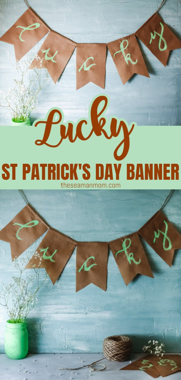 Add some luck to your home with this St Patrick's day banner! A fun, little easy project perfect to decorate your home or any party you plan on hosting! Best of all? Kids can help or create their own! via @petroneagu