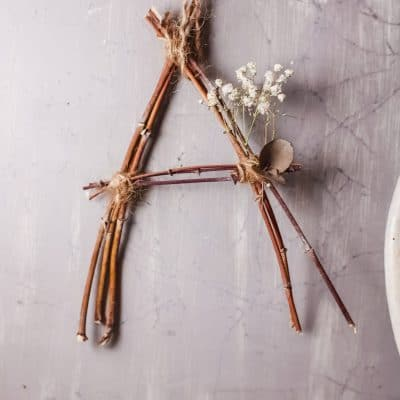DIY twig letter wall decor idea