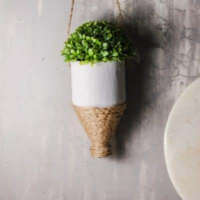 DIY hanging plastic bottle planter