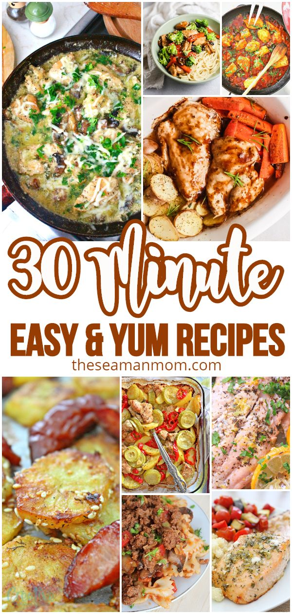 Full of quick and easy meals, for breakfast, lunch and dinner, these list of 30 minute recipes is perfect for busy families! via @petroneagu