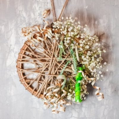 Rustic embroidery hoop wreath