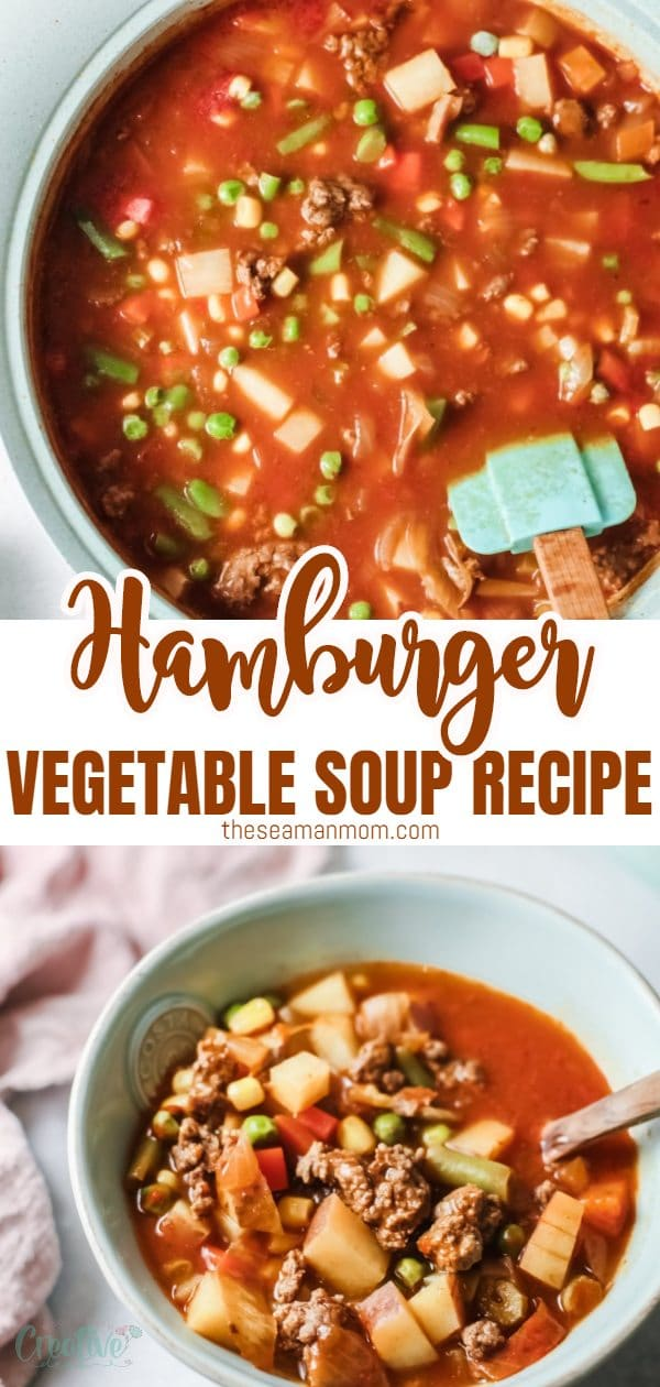This easy hamburger soup is a delicious, healthy meal! Packed with veggies, healthy carbs and lean meat, this hamburger soup is a hearty and comforting soup the whole family will love. Make a large batch, this soup lasts refrigerated for a couple days and reheats beautifully! via @petroneagu