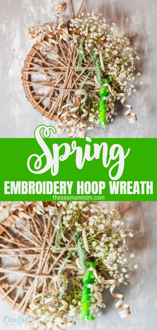 This small embroidery hoop wreath is the perfect quick DIY project! Decorate your front door and welcome your guests with this floral and rustic DIY Spring wreath that adds some farmhouse charm to any door you put it on. via @petroneagu