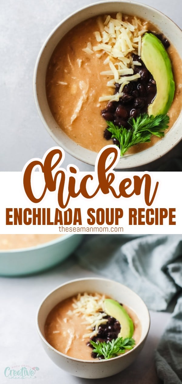 This chicken enchilada soup recipe is super creamy, cheesy and comforting! The perfect quick dinner for those moments when you're craving a comforting bowl of soup but don't want to spend a tone of time cooking. via @petroneagu